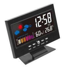 Digital Weather LCD Snooze Table Alarm Clock Color Display w/ LED Backlight Alarm Clocks Desk Digita black 15.5*11*3.5cm