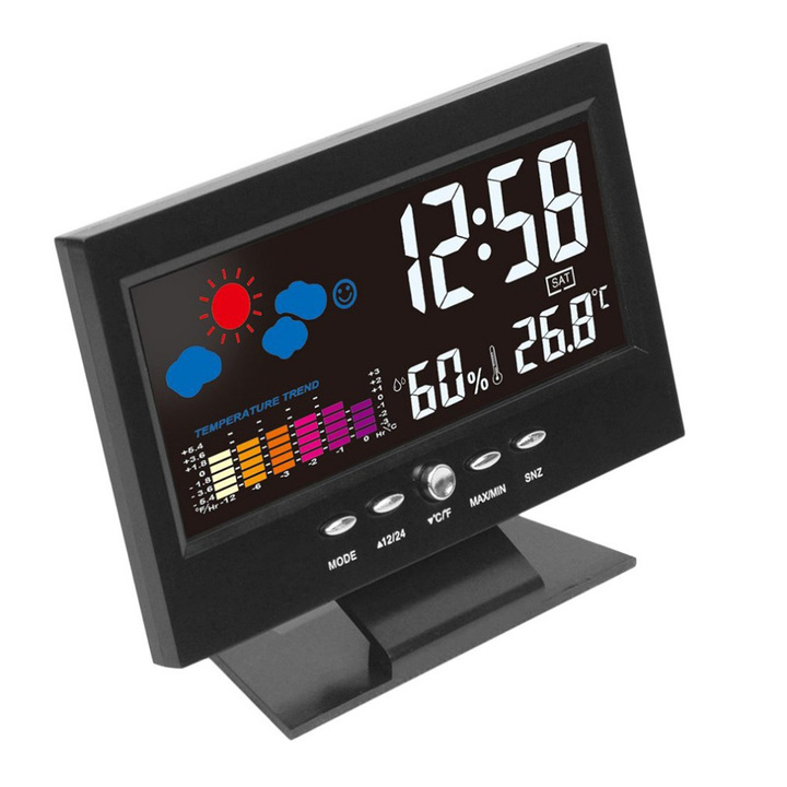 Digital Weather LCD Snooze Table Alarm Clock Color Display w/ LED Backlight Alarm Clocks Desk Digita black 15.5*11*3.5cm