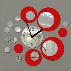 Round Mirror wall clock modern design removable DIY acrylic 3D mirror wall wall sticker Home Decor black