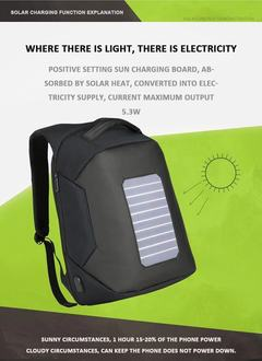 Backpack Solar Powered Backpack USB Charging Anti-Theft grey 49*32*20 cm