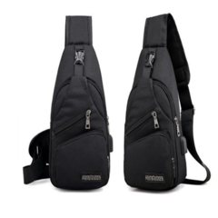 USB charging fashion cross-body bag men's bag black L 16*T 8*H 33