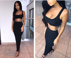 Two Piece Set Women Spring Autumn Ribbed Crop Top And Skirt Set Matching Sets Woman Outfits s black