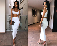Two Piece Set Women Spring Autumn Ribbed Crop Top And Skirt Set Matching Sets Woman Outfits s white