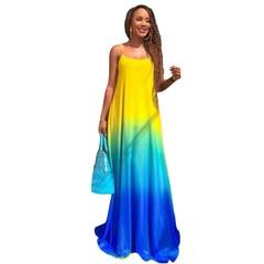 Large Size Gradient Vestidos Party Sundress  Boho Casual Chiffon Evening Party Beach Long Maxi Dress xl blue