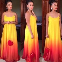 Large Size Gradient Vestidos Party Sundress  Boho Casual Chiffon Evening Party Beach Long Maxi Dress xxl red