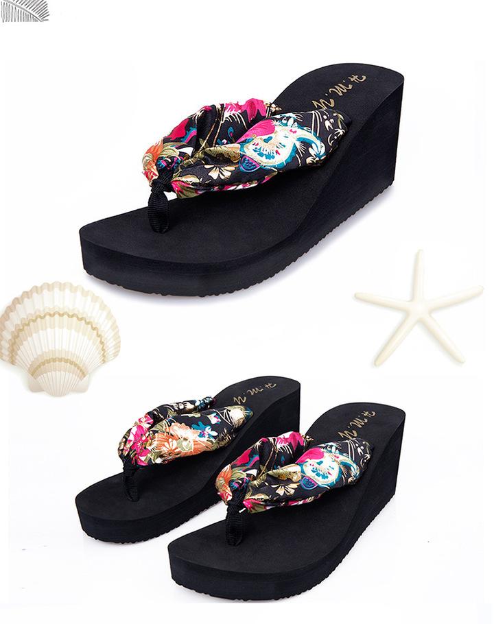 6611476452 2019 Brand New Bohemia Floral Beach Sandals Wedge Platform Thongs Slippers  Flip Flops black 36