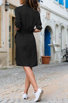 2019 New Women Three Quarter Shirt Fashion Ladies Turn-Down Collar Casual Loose Dresses Vestidos s black