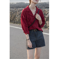 2019 Women Spring and Autumn New Recommended Good Version of Simple and  Loose Pocket Lapel Shirt red m