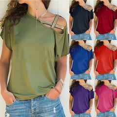 Women Explosion Tops Spring and Summer Casual Shoulder Cross Irregular Short-sleeved T-shirt army green xxl