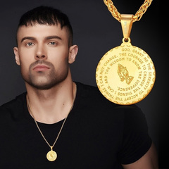 Men's Medal Pendant Prayer Necklace 22 Inch Free Chain Christian Jewelry Praying Hands Coin gold as picture