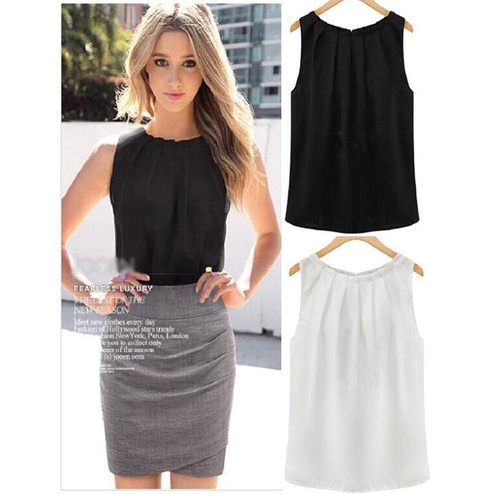 Women Blouse Shirt 2019 Sleeveless Round collar Chiffon shirt Wild Joker Chiffon vest Tops black xxl
