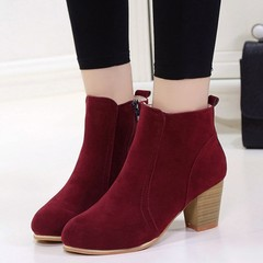 Promotion Limit Buy Women's Fashion Shoes Middle heel Rough Heel Ankle Martin's Boots red 40