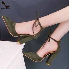 New discounts crazy purchase laced women's shoes party wedding thick high heels army green 36