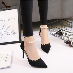 Amazing Price 1 Hours Crazy Buy Women High Heel Shoes Sexy Chain Slim Shallow-mouthed Tip Sandals black(8cm) 36