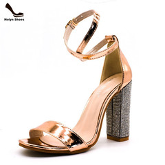 Promotion 2019 limit buy Europe America High heel buckled fashion sandals large size women's shoes gold 42