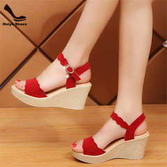 Promotion in 2019 Limit Price New High Thick Heel Wedges Fishmouth Sexy Women's Shoes red 35