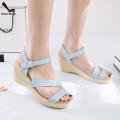 2019 Popular leisure high thick heel sandals women open-toed ladies shoes wedges blue 40