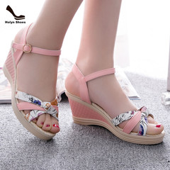 Amazing Price 1 Hours Crazy Buy Wedge Shoes New High-heeled Fishmouth Women Shoes. pink 37