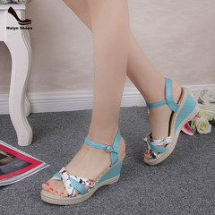 Amazing Price 1 Hours Crazy Buy Wedge Shoes New High-heeled Fishmouth Women Shoes. blue 36