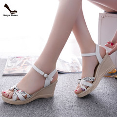 Amazing Price 1 Hours Crazy Buy Wedge Shoes New High-heeled Fishmouth Women Shoes. white 40