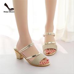 Flash sale limit discount summer women's high heels toe-opening sexy ladies sandals gold 37