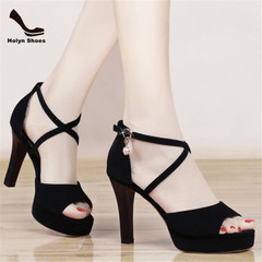 Flash price 3 hours summer fashion sandals high slim heels buckle ladies shoes black 37