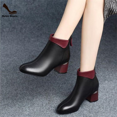 Limit Discount of 3 Days New Fashion Round Shoe Toe High-heeled Martin Boots Women's Ankle Boots black 35