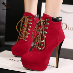 Amazing order limit lower price fashion lace-ups high slim heels Martin boots red 35