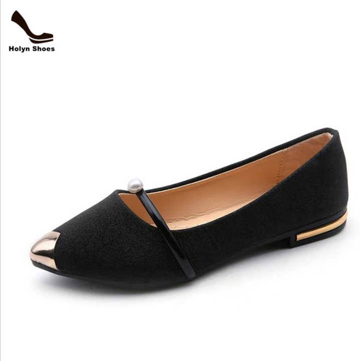Flash Lower Price New Pointed Shallow Mouth Flat Women's Single Shoes black 35