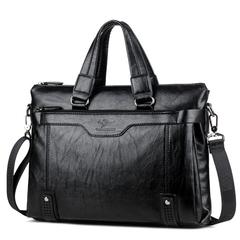 New large capacity, men's leather business briefcase, fashionable one-shoulder slanting-handbag black 14inch