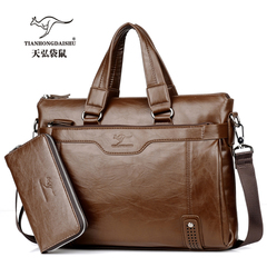 New large capacity, men's leather business briefcase, fashionable one-shoulder slanting-handbag deep brown 14inch
