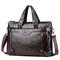 New large capacity, men's leather business briefcase, fashionable one-shoulder slanting-handbag deep brown 14inch