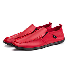 2019 New Men Causal Shoes Fashion Leather Shoes Men Loafers Lightweight Breathable Slip,Big Size red 43