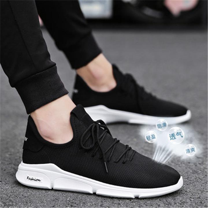 2019 New Spring&Summer Men Sport Running Air Mesh Breathable shoes,Super value black 40