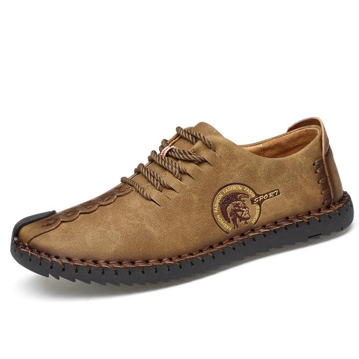 Classic Comfortable  Loafers Men Shoes Quality Split Leather Shoes Men Flats Hot Sale  Plus Size khaki 43