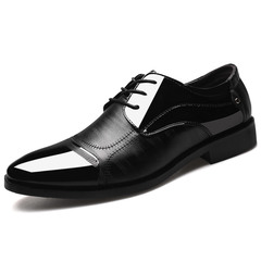 2019 Formal Shoes Men Pointed Toe Men Dress Shoes Leather Oxford Formal Shoes Dress Footwear 38-48 black 38 pu leather