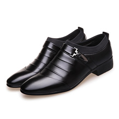 2019 Men Dress Shoes Men Business Flat Shoes,Breathable Low Top Men Formal Office Shoes black 38 pu leather
