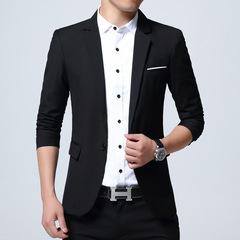 New Arrival Brand Clothing Jacket Autumn Suit Men Fashion Slim Male Suits Casual Solid Color Blazers Black m