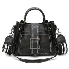 P.H ultra-large capacity Fashion Explosion Slant Bag Hand-held Belt Bag New Trend Pu Leather Handbag black 26.5cm*11.5cm*21cm