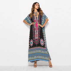 Spring and Summer Women's Dresses, Large Size Printed Leisure Fashion Dresses, Long Beach Dresses one size black