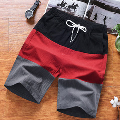 Cotton and linen couples sport shorts, loose quintuples, pajamas, breathable beach pants red l
