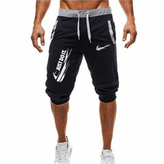 New Fashion Summer Leisure Men Knee Length Shorts Color Patchwork Joggers Short Men Sweatpants black1 m
