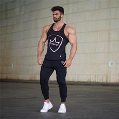 Summer New Sports Fitness Running Training Slim Pants Leisure Cotton Simple men's trousers black m