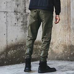 Fashion Brand Originally Men's Straight Bottom Leisure Pants Men's Pure Colors Multi-pocket trousers army green m