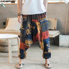 New Baggy Cotton Linen Harem Pants Men Plus Size Wide Leg Trousers New Casual Pants Cross-pants A m