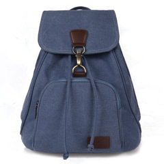 Canvas shoulder bag Korean version leisure simple schoolbag traveling man backpack Bucket Bag blue 40*30*15cm