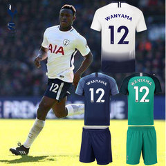 2 Pcs/Set Football suit Tottenham Hotspur Football Club Victor Wanyama Original Version No. 12. S white