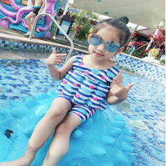 Children's swimsuit girl's swimming training suit whale print children's one-piece swimsuit blue 90cm