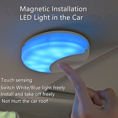 USB Car reading light with magnetic installation, white/blue light can be switched
