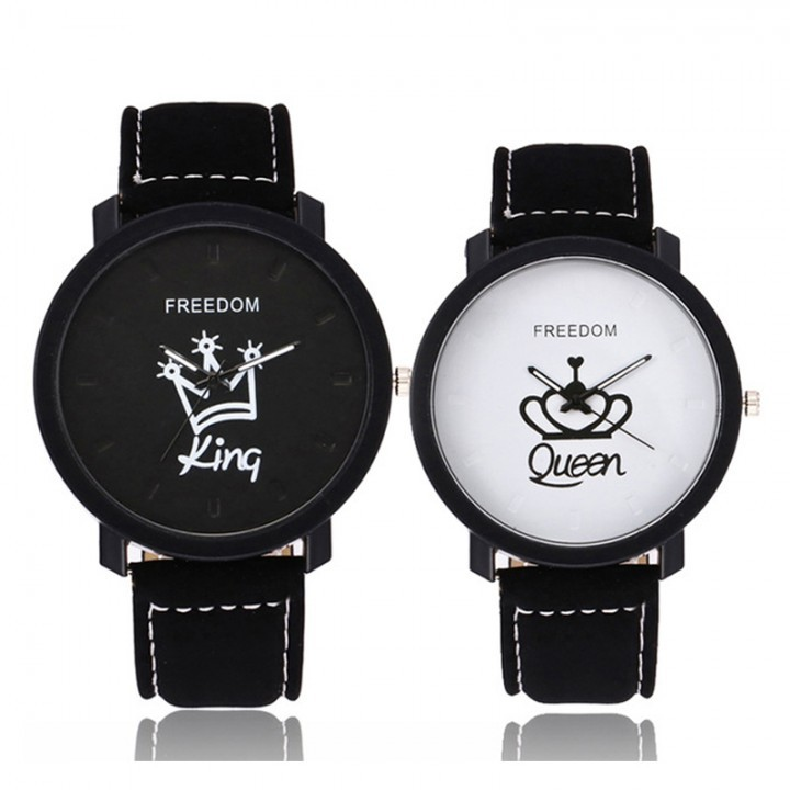 Couple Watch Queen King Crown Faux Leather Quartz Analog Wrist Watches fashion watches women men pack of 2 one size